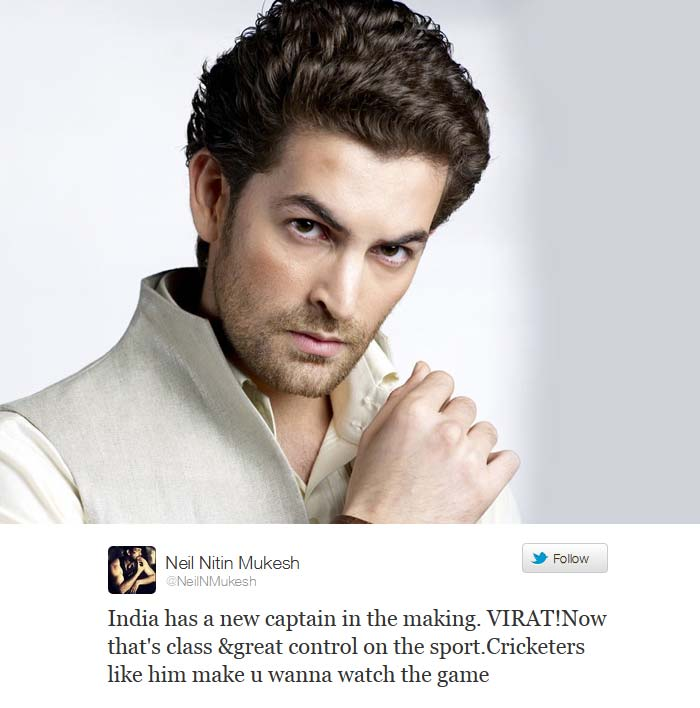 <b>Neil Nitin Mukesh:</b> India has a new captain in the making. VIRAT!Now that's class &great control on the sport. Cricketers like him make u wanna watch the game.