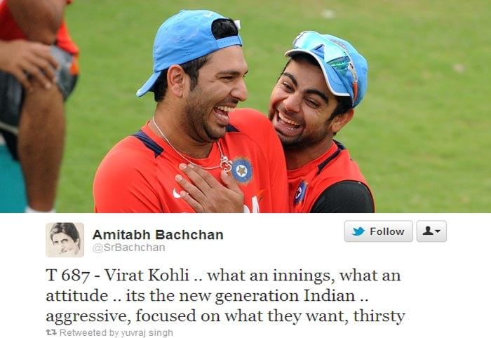 And Yuvraj Singh retweeted Big's B comment for Kohli.