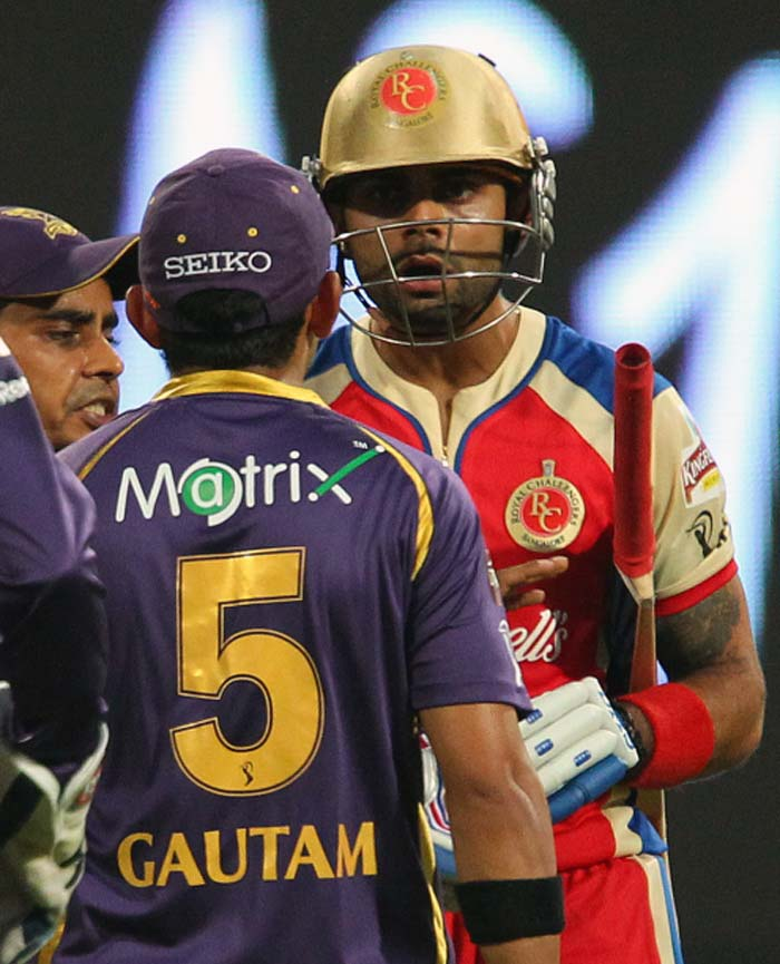 Rival captains Virat Kohli and Gautam Gambhir were involved in an ugly on-field spat when Royal Challengers Bangalore hosted Kolkata Knight Riders in the 12th match of the Indian Premier League. (BCCI image)