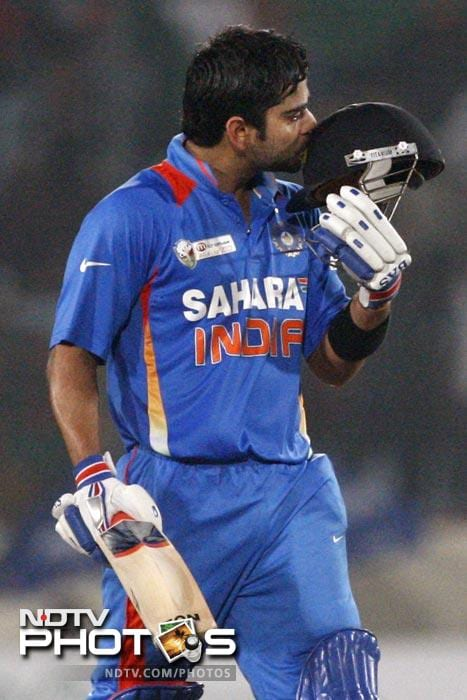 """Moral victory for Pak: stopped Sachin from scoring a century and Kohli from scoring a double century.<br><br><b><a href=""""http://gen.ndtv.com/convergence/ndtv/new/forums/readforum.aspx?trdid=5163"""" class=""""fn fl""""><span class=""""fr"""">Do you have an interesting one-liner for Virat Kohli? Share it with us.</span></a></b><br><br>PS: No cuss words please!"""
