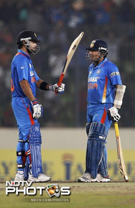"""India has won 10 out of 11 ODI matches in which Virat Kohli has scored a century. So he's the anti-Tendulkar then?<br><br><b><a href=""""http://gen.ndtv.com/convergence/ndtv/new/forums/readforum.aspx?trdid=5163"""" class=""""fn fl""""><span class=""""fr"""">Do you have an interesting one-liner for Virat Kohli? Share it with us.</span></a></b><br><br>PS: No cuss words please!"""