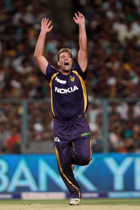 Once both batsmen were dismissed though, Kolkata bowlers were back on top. Kallis is seen here celebrating the wicket of White. (BCCI image)