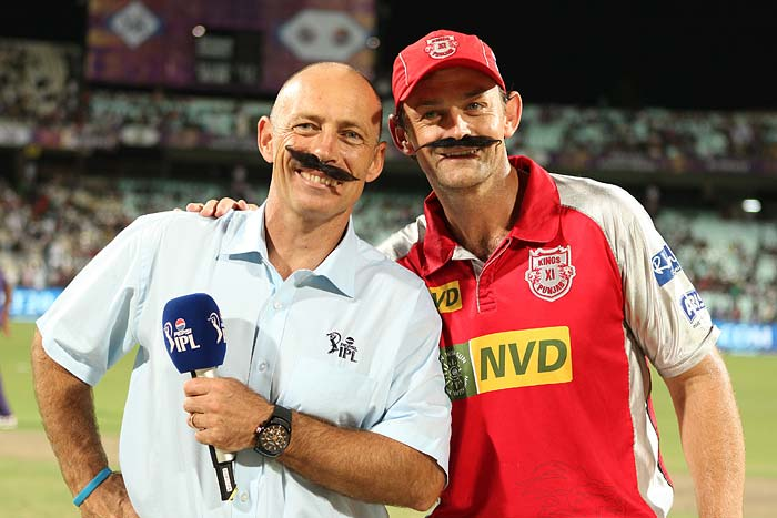 Adam Gilchrist and Danny Morrison sporting a moustache ahead of the toss in match number 35 of the sixth edition of the Indian Premier League at the Eden Gardens, Kolkata on Friday, April 26, 2013.