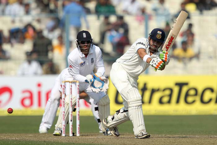 A lot was then expected of Gautam Gambhir since he had 'dismissed' India's most destructive batsman. He played solidly but not fluently to score a half century. At the other end though, disaster had struck with Cheteshwar Pujara done in early by Monty Panesar. (Photo credit: BCCI)