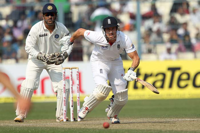 Nick Compton gave his captain solid support with a well constructed 57 off 137 balls. The feature of their innings was also their running between the wickets as Indian fielders faltered badly on a pedestrian day for them. Particularly bad were Virender Sehwag, Zaheer Khan and Yuvraj Singh. (Photo credit: BCCI)
