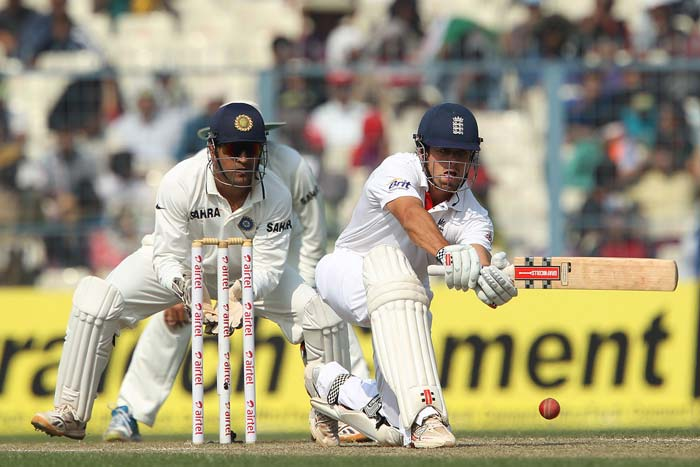 England had an early reprieve in their innings when skipper Alastair Cook was batting on 17. 'Newly appointed' slip fielder Cheteshwar Pujara had the 'brainwave' to wear shin pads and accessories in the most important position in Tests and promptly dropped the in form Cook. England never looked back, India could not look ahead. (Photo credit: BCCI)