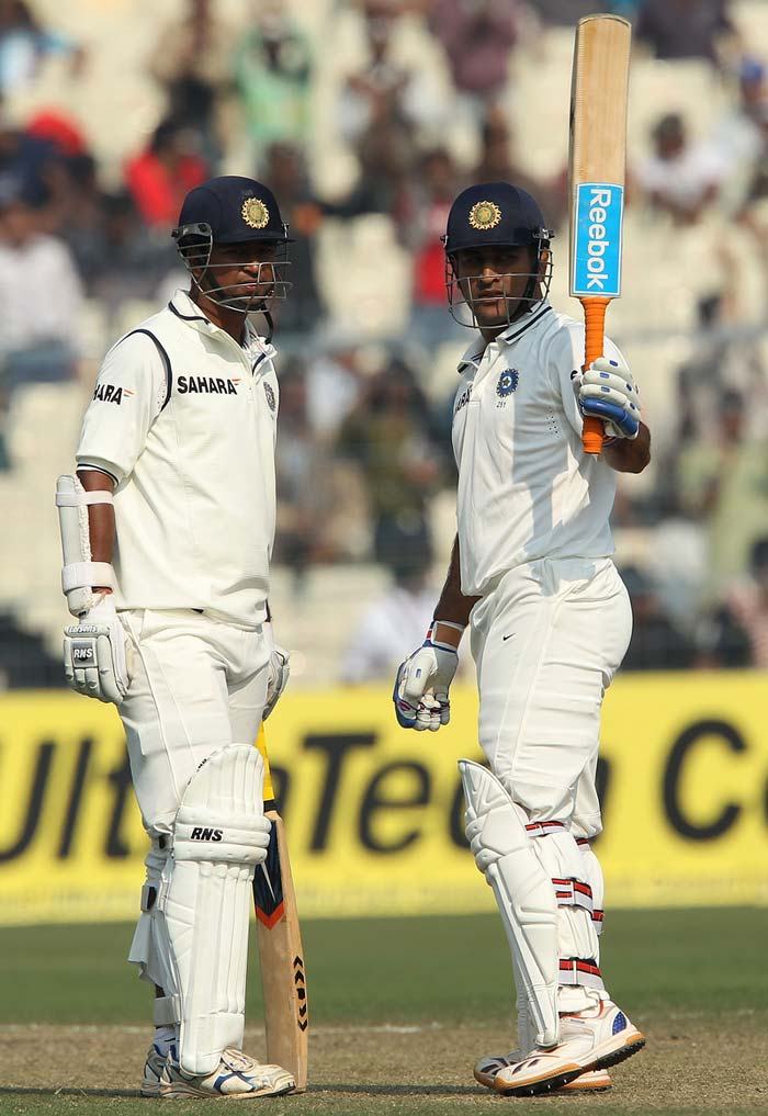 MSD completed a well deserved fifty to take India's score to 316. Pragyan Ojha gave him good company with a 0* off 19 balls. Eventually, Dhoni was dismissed by a searing bouncer from Steven Finn, who bowled well without much luck. (Photo credit: BCCI)