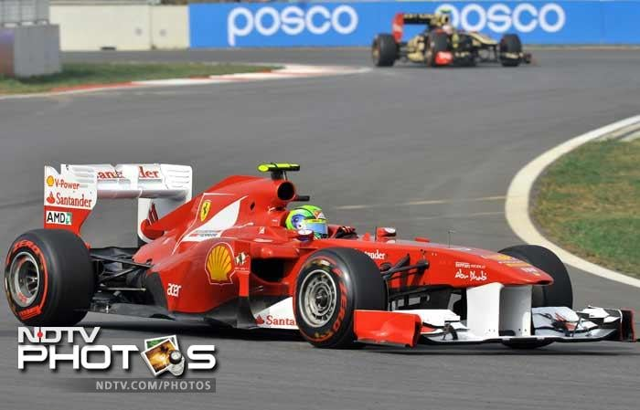 There was little to separate the two Ferraris but Brazilian Felipe Massa marginally out-paced Spaniard Fernando Alonso.
