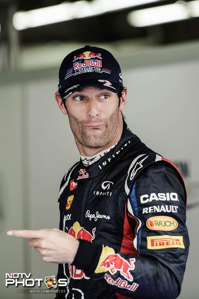 Mark Webber clocked a brilliant 1m37s in the last qualifier to finish as the best in the qualifiers at the Korean International Circuit on Saturday. (Photos AP & AFP)