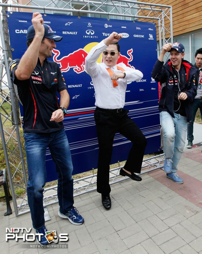 It's the Korean GP in Circa 2012, and how can you not have the Gangnam. Mark Webber and Sebastian Vettel got a dose of Gangnam-style as Psy gave them a crash course before the race got underway.