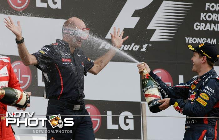 Sebastian Vettel was, in reality, washing off the tension that Red Bull team technical director Adrian Newey had held on to to for 55 laps in Yeongam.