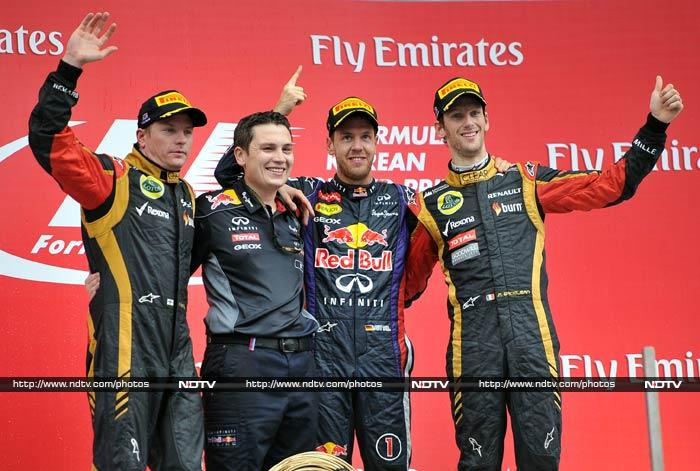 Sebastian Vettel stands on the brink of a fourth world title in succession after he powered away from pole position to win a fiery Korean Grand Prix on Sunday. The unstoppable German, 26, could retain the title in Japan next week if he wins and Ferrari rival Fernando Alonso finishes outside the top eight. (All AFP and AP photos)