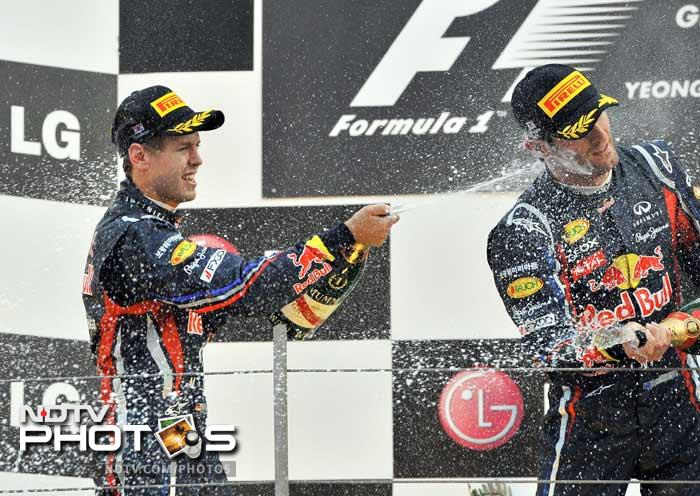 There were celebrations for Red Bull again as just a week after Vettel clinched the 2011 drivers' championship, the team sealed the constructors' title.