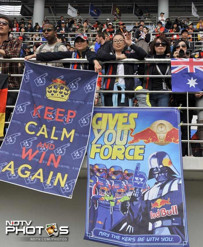 There was plenty of support for Red Bull and Vettel despite the German already having claimed the drivers' title.