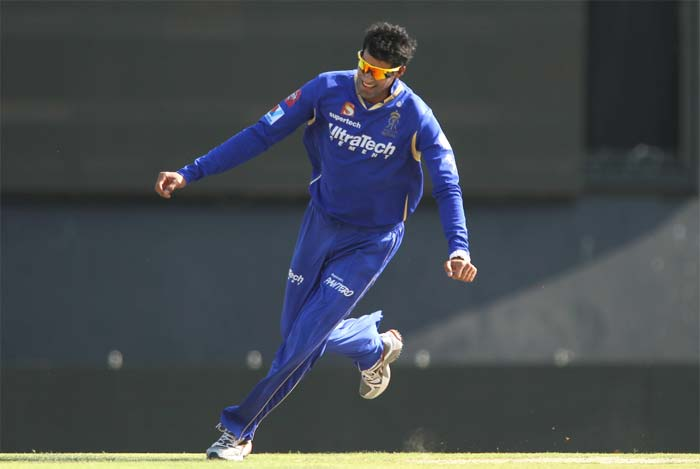 Ajit Chandila struck in the first over to remove Mandeep Singh for a duck and Punjab had lost an early wicket after being inserted by Rajasthan. (BCCI Image)