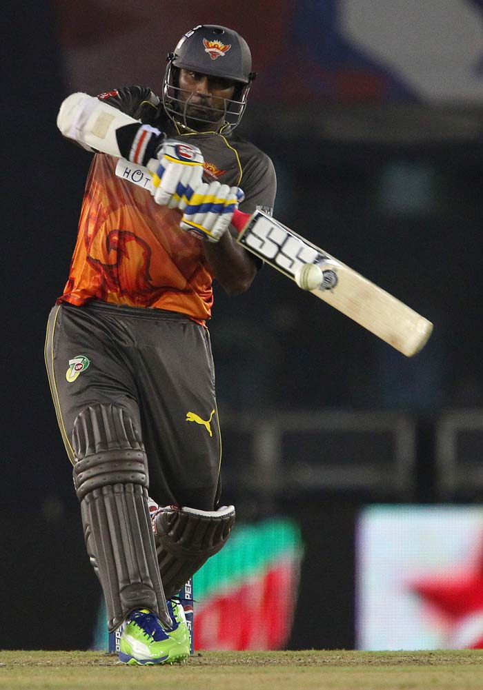 Thisara Perera's 32 not out from 19 balls was the late burst needed for Hyderabad to reach 150/7. (BCCI Image)