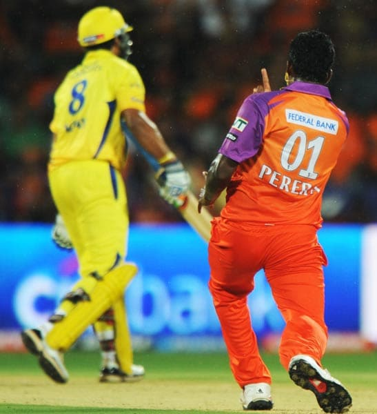 Murali Vijay too didn't quite seem to be his usual self and was dismissed by Thisara Perera for 28.