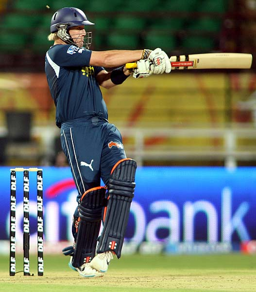 Deccan Chargers' Cameron White plays a shot during the Indian Premier league match against Kochi Tuskers Kerala at Kochi. (AFP Photo)