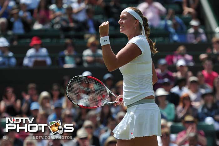 2011 champion Petra Kvitova avoided becoming the latest former champion to be knocked out in the first week at Wimbledon after beating Ekaterina Makarova to reach the fourth round. She rallied from a break down to win 6-3, 2-6, 6-3.