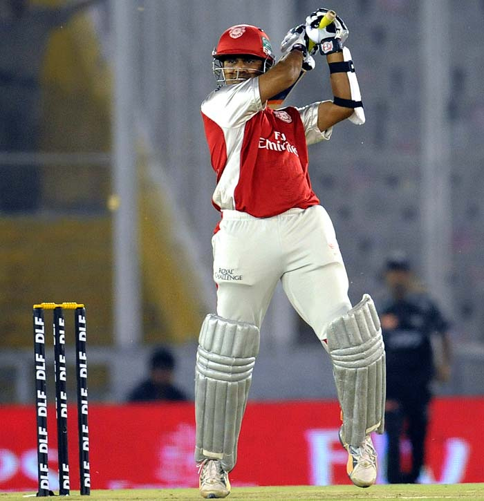 Kings XI Punjab opener Paul Valthaty plays a shot during the IPL Twenty20 cricket match against Pune Warriors at the Punjab Cricket Association Stadium in Mohali. (AFP PHOTO)