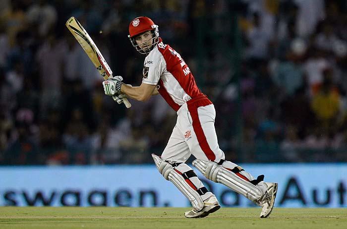 Shaun Marsh of Kings XI Punjab plays a shot during the IPL Twenty20 cricket match against Pune Warriors at the Punjab Cricket Association Stadium in Mohali. (AP PHOTO)