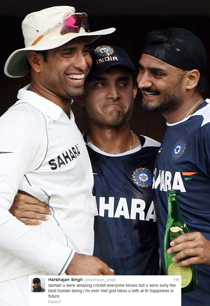 "<b>Bhajji</b> too was full of praise for his now former teammate: ""laxman u were amazing cricket everyone knows but u were surly the best human being I hv ever met.god bless u with al th happiness in future."" <br> ""Lax we gona miss u.u r a legend.sending luv and wishes all the way from essex.wish I ws part of ur last test.essex team also sending wishes"" <br> ""Legend has walked into cricketing sunset. What a player. probably th best man.so many good day spend with him.gonna miss u vvs.god bless"""