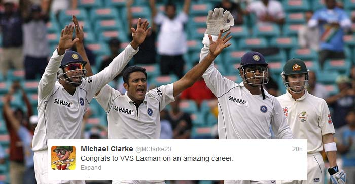 "Even Australian skipper <b>Michael Clarke</b> could not hold himself back: ""Congrats to VVS Laxman on an amazing career."""