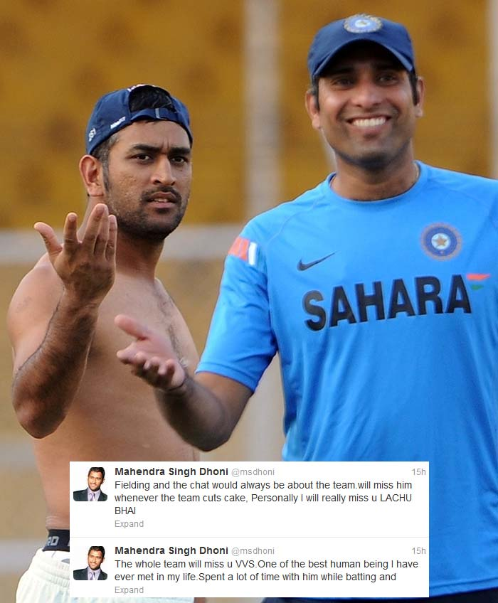"Laxman might have felt that Dhoni was 'out of reach' but the skipper saluted a marvellous career in his own way. <b>Dhoni</b> tweeted: ""The whole team will miss u VVS.One of the best human being I have ever met in my life.Spent a lot of time with him while batting and Fielding and the chat would always be about the team.will miss him whenever the team cuts cake, Personally I will really miss u LACHU BHAI"" (<i>All AFP Photos</i>)"