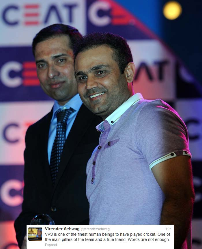 "<b>Virender Sehwag</b> rounded it off in his simplistic manner: ""VVS is one of the finest human beings to have played cricket. One of the main pillars of the team and a true friend. Words are not enough."""