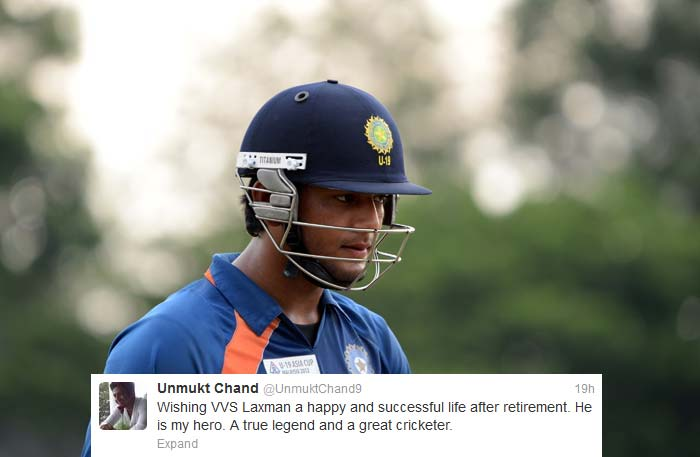 "Indian under-19 captain <b>Unmukt Chand</b> had a lot to say: ""Wishing VVS Laxman a happy and successful life after retirement. He is my hero. A true legend and a great cricketer."" <br><br> ""I was fortunate to spend some time wid #vvs laxman at the NCA. All I can say is that he's a superb human being, very grounded and hardwrking"" <br> ""#vvs laxman. His attitude is infectious. Felt at peace after talking to him. A salute to him for a great career and inspiring many lives."""