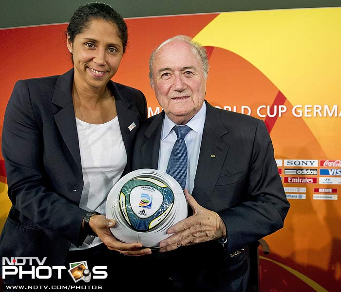 FIFA President Sepp Blatter with President of the local organising committee of the tournament, Steffie Jones.