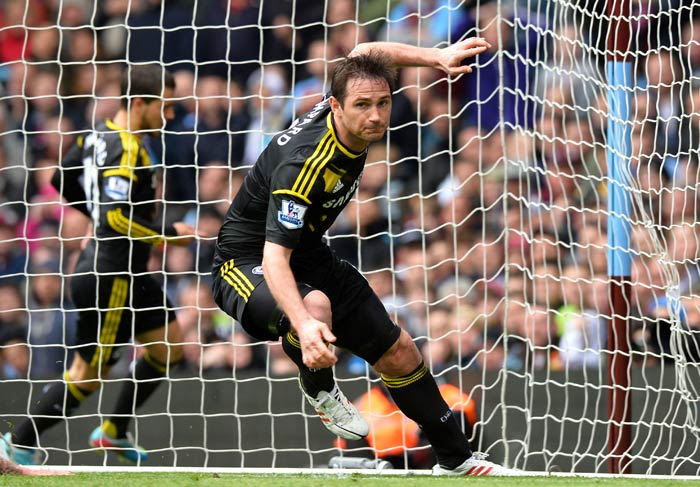 Lampard struck in the 61st minute at Villa Park when he collected a pass from Eden Hazard, and let fly from some 15 yards to equal former Chelsea striker Bobby Tambling's club record of 202 goals.