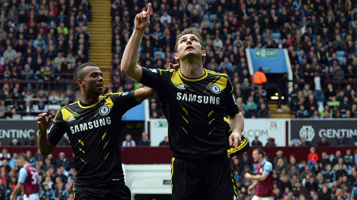 Frank Lampard became Chelsea's outright record goalscorer by scoring twice as the Blues came from behind to secure a 2-1 win away to Aston Villa. <br><br> A look at the jubilant celebrations that followed. (AFP images)