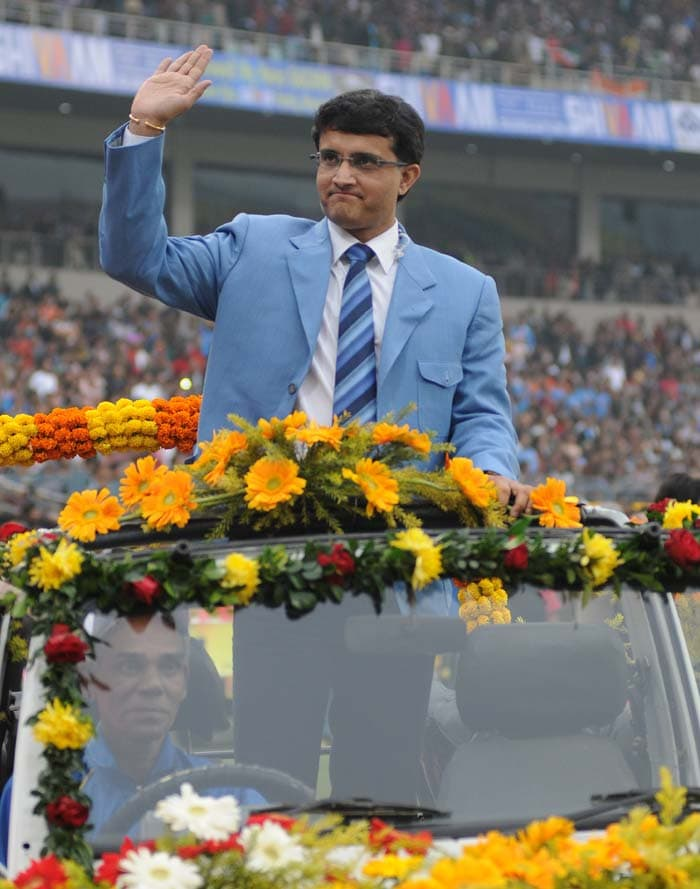 The loudest cheer perhaps was reserved for local hero Sourav Ganguly who was his charismatic best. (Image courtesy: BCCI)