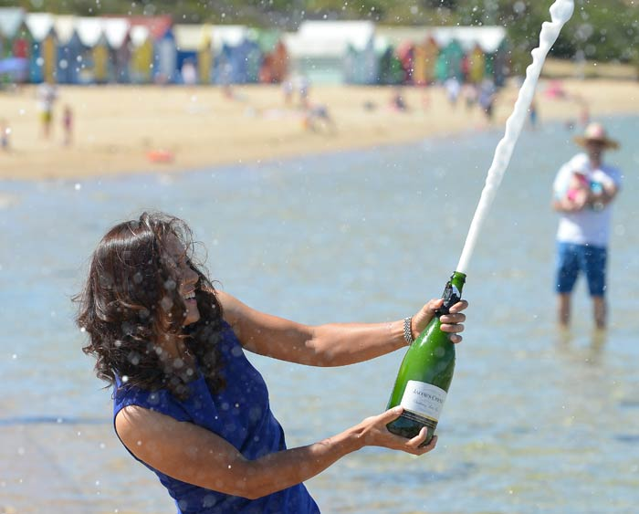 There was nothing 'old' about her celebrations though. <br><br>The 31-year-old is seen uncorking a bottle of champagne.