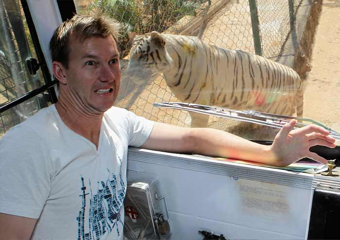 A safari ride in Bangalore is perhaps the next best thing to one in Africa. At least Brett Lee seems to have this logic in mind as he enjoys the wildlife at the Bannerghatta Biological Park here. (Getty Images)