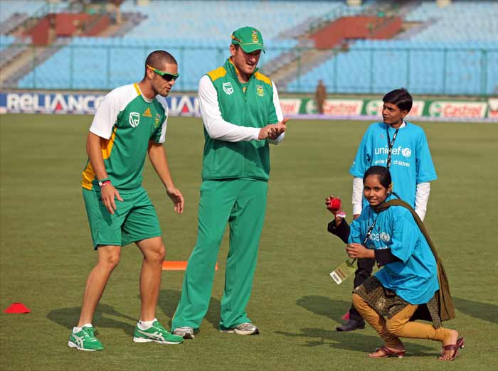 And if you thought its all about lavish gatherings, you thought wrong. Smith returns to the ground to interact with HIV patients and share a few cricketing tips with them. (Getty Images)