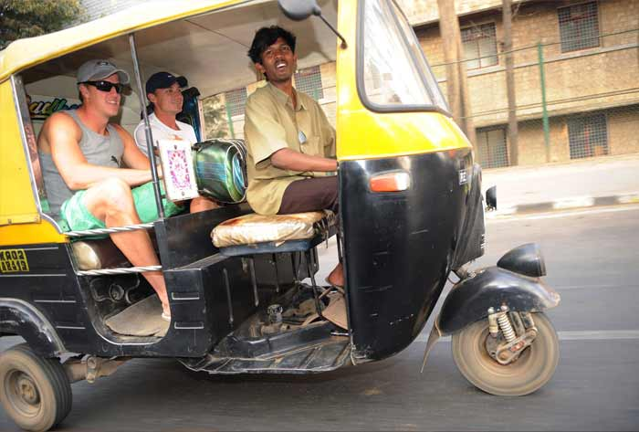 Some others are making the most of their offbeat sessions, exploring what this part of the world has on offer. Take these South African players for instance. An auto ride becomes a joy ride for Morne Morkel and Dale Steyn in Bangalore. (Getty Images)