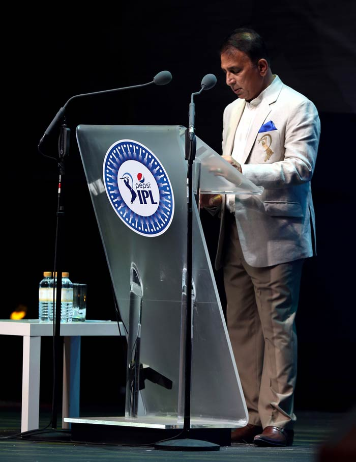 The former India captain is seen here addressing the audience. (Image courtesy BCCI)