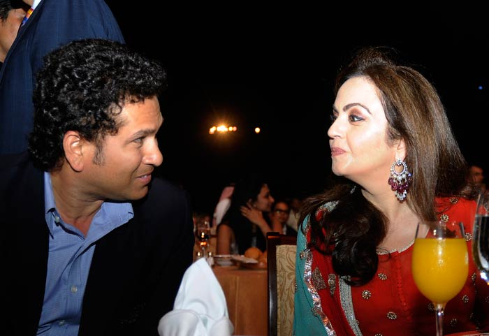 He is seen here with team owner Nita Ambani. <br><br>Mrs Ambani would be relieved that Sachin is still associated with the team and the former player was even seen monitoring the training session of the side recently. (Image courtesy BCCI)