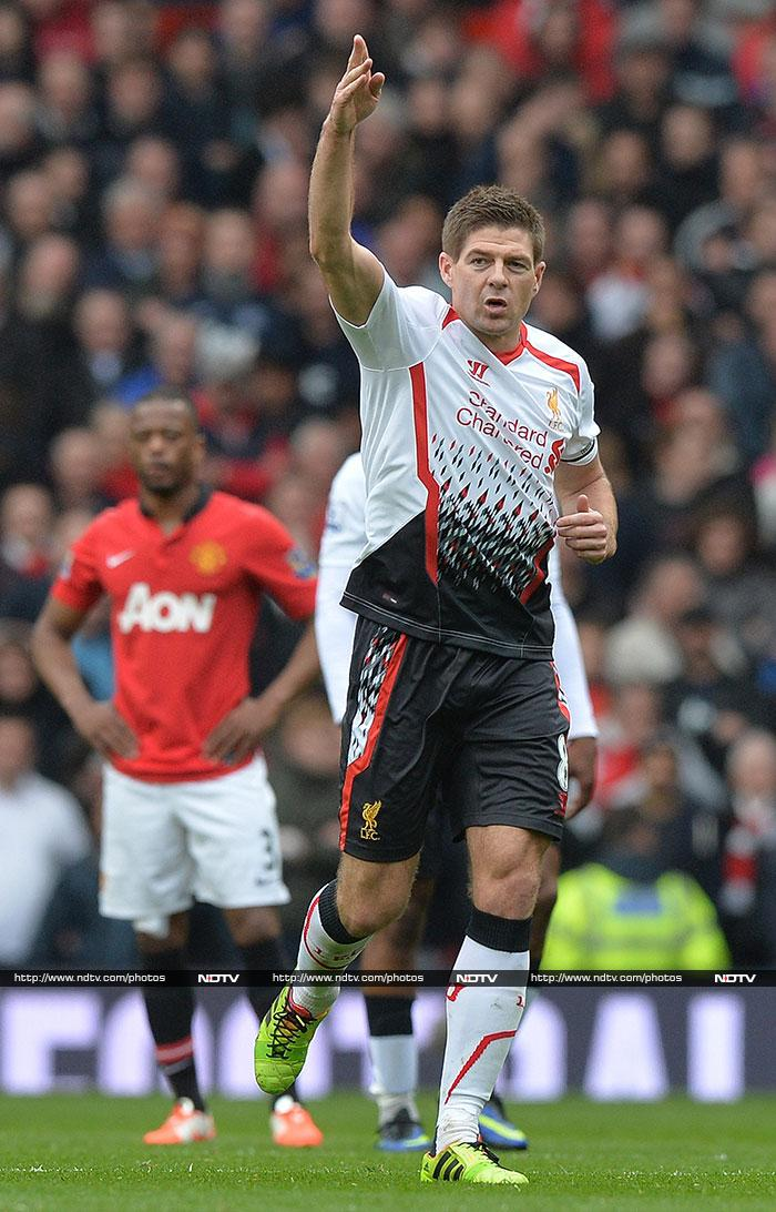 Gerrard should have had a hat-trick of spot-kicks, with a third penalty hitting the post after United captain Nemanja Vidic had been shown a second yellow card for felling Daniel Sturridge, but it was to prove anecdotal.