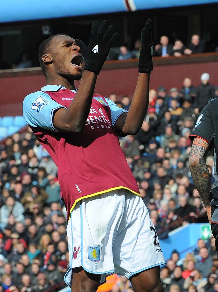 Belgian striker Christian Benteke shows how the match eventually panned out for his team against Liverpool.