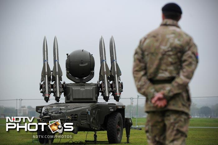 The missiles were shown off in Blackheath, southeast London, on high ground overlooking Greenwich Park, where the equestrian events will be held, and the steel-and-glass towers of the Canary Wharf financial services district.