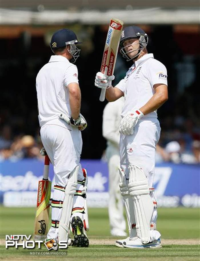 Jonathan Trott played well for his fifty before becoming Ryan Harris' 50th Test victim.