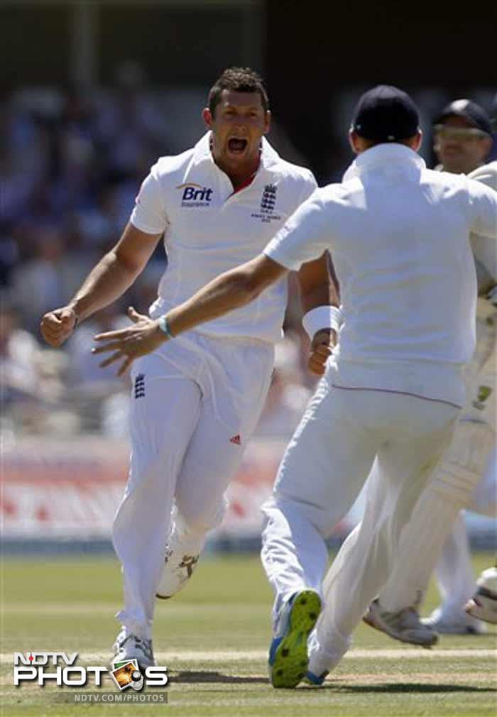 Tim Bresnan drew first blood in Australia's innings when he got rid of Shane Watson at the stroke of lunch on Day. Bresnan finished with 2/28