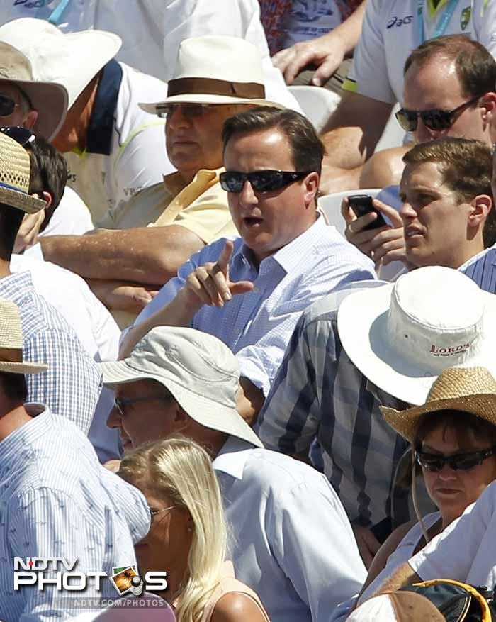 Britain's Prime Minister David Cameron was seen enjoying second day's play at Lord's.