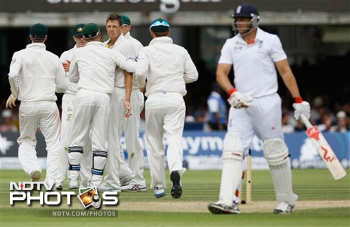 Nightwatchman Tim Bresnan made an admirable 38. Bresnan batted solidly for more than three hours until he pulled a James Pattinson bouncer straight to Chris Rogers in front of square.