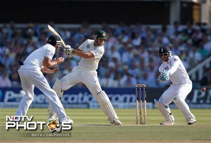 James Pattinson (35) was the last wicket to fall. Last-wicket pair of Pattinson and Ryan Harris held firm for more than an hour, with England claiming the extra half hour. England were all out for 235 runs.