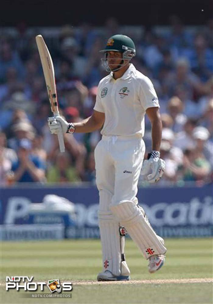Usman Khawaja notched up his second half-century, before being dismissed for 54 - highest score by an Australian in this match.