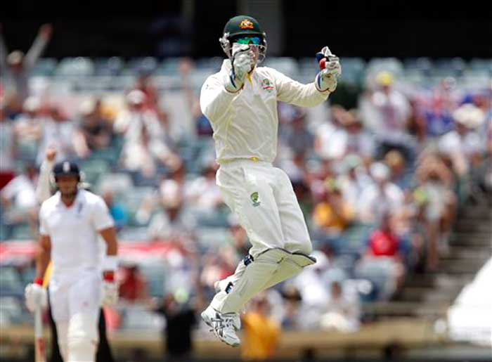 Brad Haddin with some gritty knocks with the bat was excellent with the gloves as well, taking eight catches in the match. The final wicket of James Anderson, shortly after lunch, led to wild celebrations by the hosts in Perth.